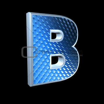 abstract 3d letter with blue pattern texture - B