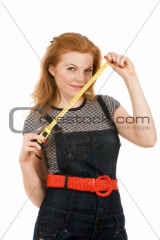 Beautiful woman holding measuring tape