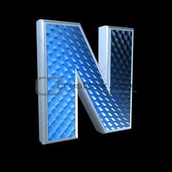 abstract 3d letter with blue pattern texture - N