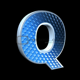 abstract 3d letter with blue pattern texture - Q
