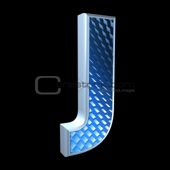 abstract 3d letter with blue pattern texture - J