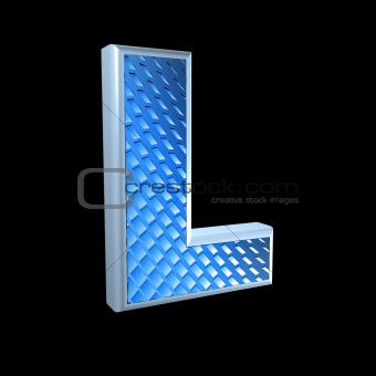 abstract 3d letter with blue pattern texture - L