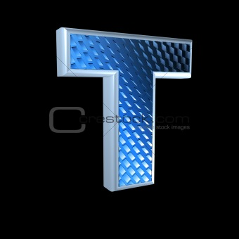 abstract 3d letter with blue pattern texture - T