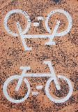 Asphalt with bicycle signs