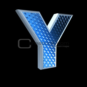 abstract 3d letter with blue pattern texture - Y
