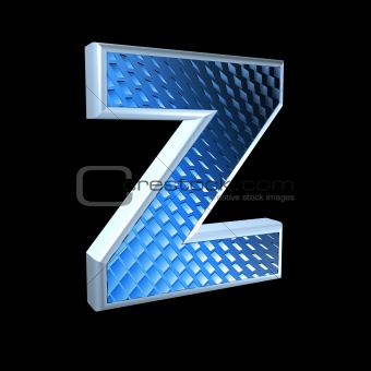 abstract 3d letter with blue pattern texture - Z