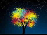 Abstract colorful midnight tree. EPS 8