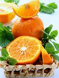 Orange and orange segments and mint