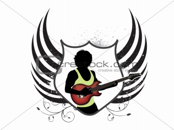 abstract musical shield with guitar