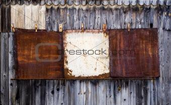 Old Blank Metal Rusty Placard.