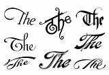 Ornate cursive ornaments. Element text (the)
