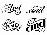 Ornate cursive ornaments. Element text (and)