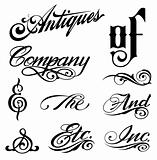 Ornate cursive ornaments. Different text