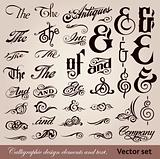 Calligraphic vintage design elements. Vector set