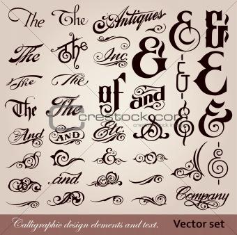 Calligraphic vintage design elements. Vector set