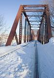 Snow on railroad tressle