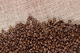 Coffee beans and canvas
