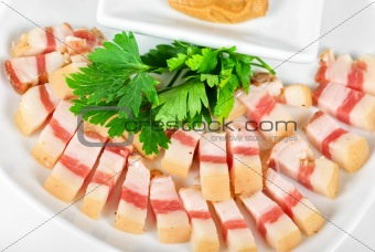 Sliced pig lard