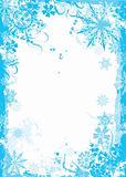Winter grunge floral frame, vector