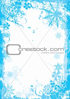 Winter grunge floral frame, vector