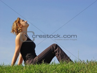Beautiful woman in grass