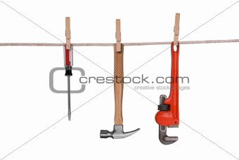 Tools hanging on a clothesline