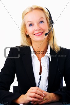 Hotline operator with headset