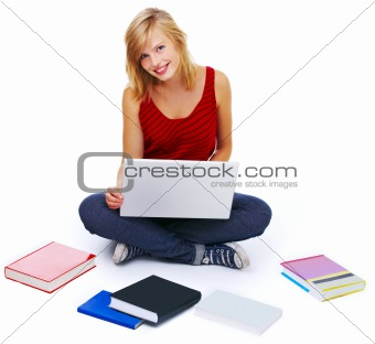 Casual student with books