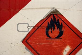 Grunge flammable symbol