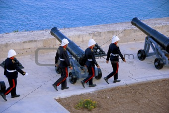 Ceremonial march to the gun battery
