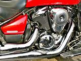 Closeup red motorbike