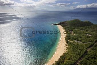 Aerial of Maui beach.