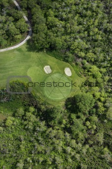 Aerial of golf course.