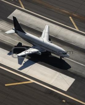 Airplane on runway.