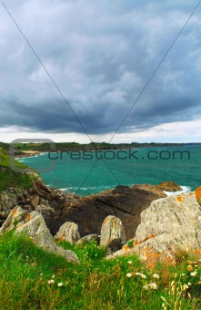 Atlantic coastline in Brittany, France