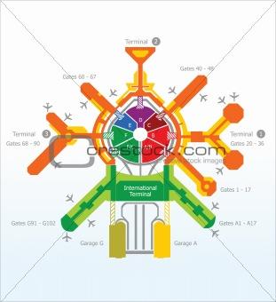abstract airport scheme illustration
