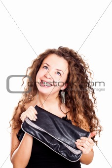 attractive woman holding a bag