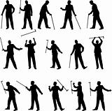 man with a cane silhouettes