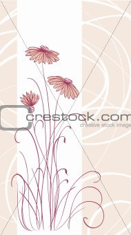Abstract vector pink flowers lines background