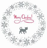 Vector christmas wreath with cat