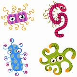 Vector cartoon virus characters