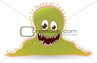 Green cartoon bacteria character