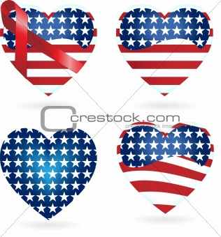 American Hearts with Ribbons