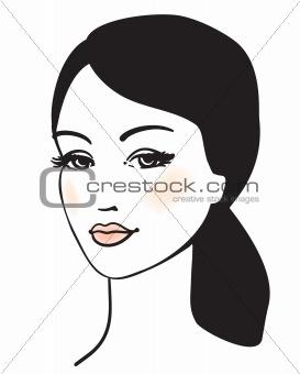 beauty girl face vector portrait