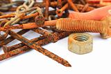 Rusty nails,nuts and bolts