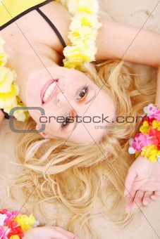Beautiful woman relax in hawaii style