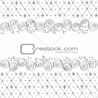 Greeting card with roses vector illustration