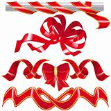 Set red ribbon and knot