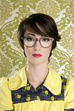 nerd woman retro portrait 70s wallpaper