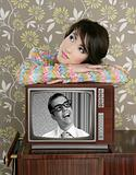 retro woman in love with tv nerd hero